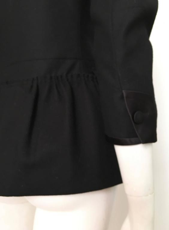 76d268bceb90 Women s or Men s Miu Miu Black Wool Silk Trim Peplum Jacket Size 4. For Sale