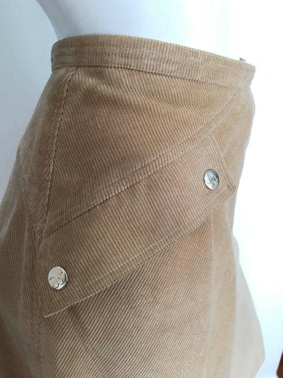 Courreges 1970s Khaki Corduroy A-Line Skirt With Pockets Size 4. 4
