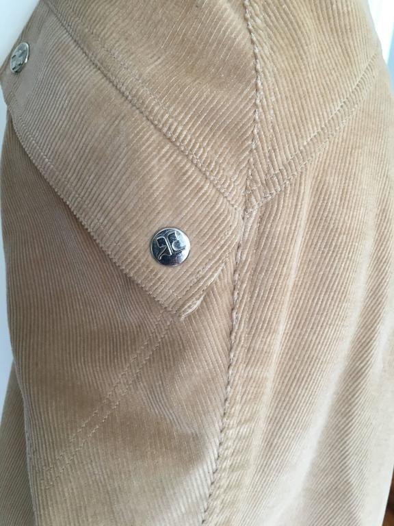 Courreges 1970s Khaki Corduroy A-Line Skirt With Pockets Size 4. 7
