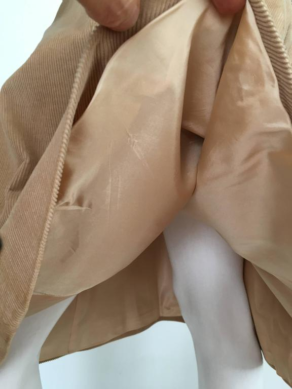 Courreges 1970s Khaki Corduroy A-Line Skirt With Pockets Size 4. 8