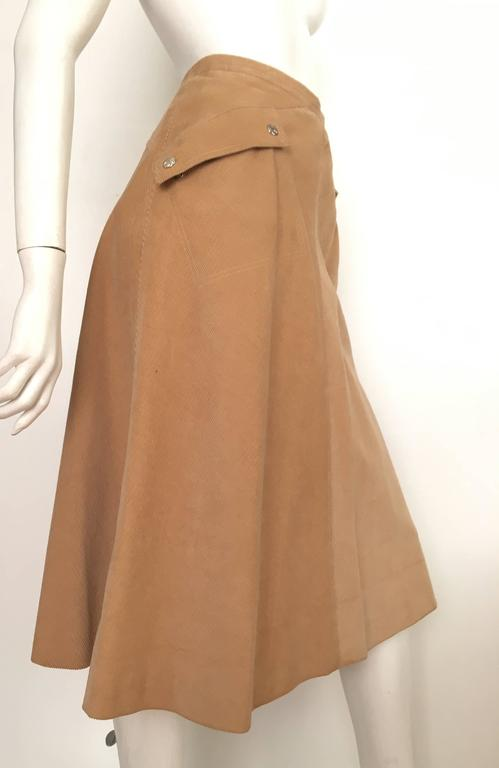 Courreges 1970s Khaki Corduroy A-Line Skirt With Pockets Size 4. 3