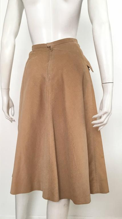 Courreges 1970s Khaki Corduroy A-Line Skirt With Pockets Size 4. 5