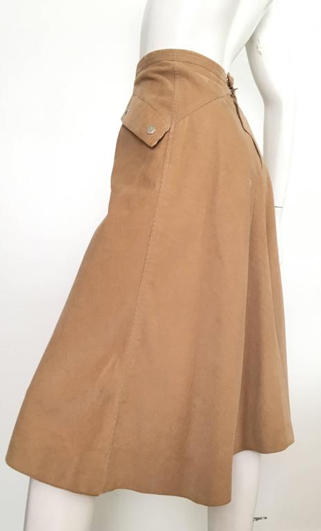Courreges 1970s Khaki Corduroy A-Line Skirt With Pockets Size 4. 6