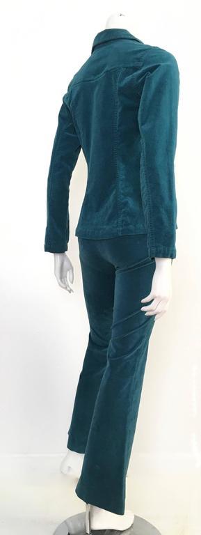 Fiorucci 1980s Teal Stretch Velvet Pant Suit Size 4. For ...