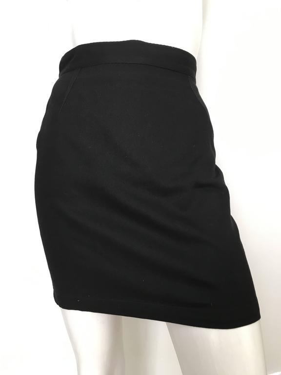 Thierry Mugler 1990s Black Cotton Mini Skirt Size 4. 8