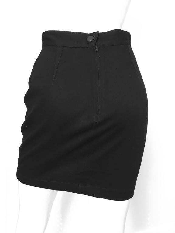 Thierry Mugler 1990s Black Cotton Mini Skirt Size 4. 4