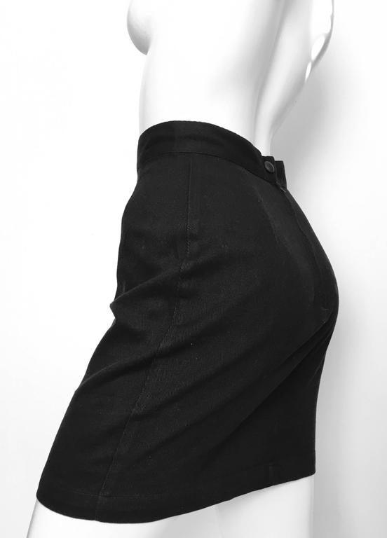 Thierry Mugler 1990s Black Cotton Mini Skirt Size 4. 5