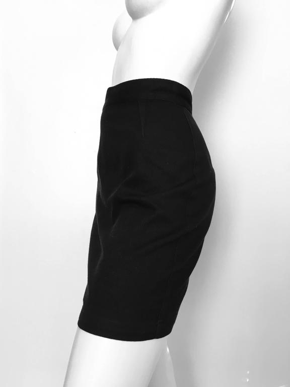 Thierry Mugler 1990s Black Cotton Mini Skirt Size 4. 6