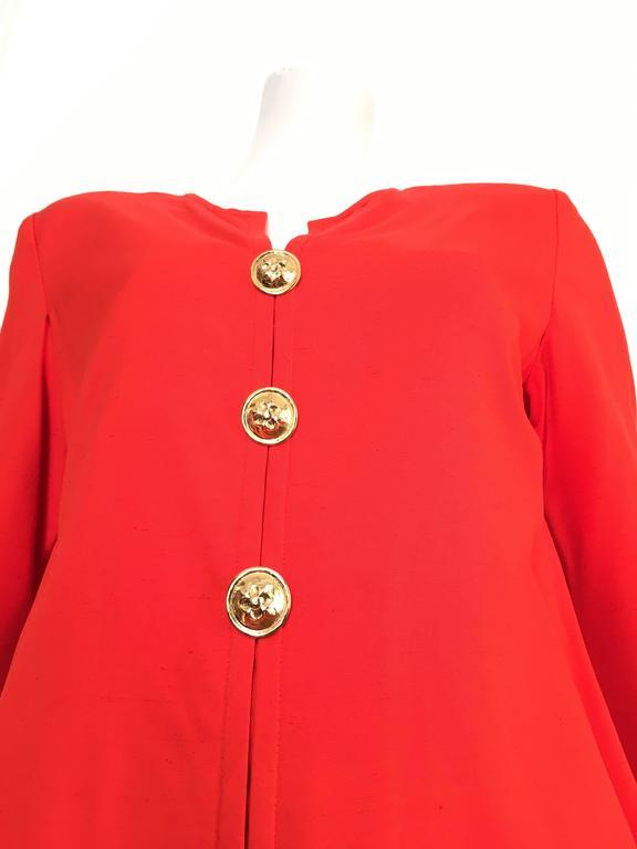 Red Carolina Herrera 1980s Silk Dress Size 10. For Sale