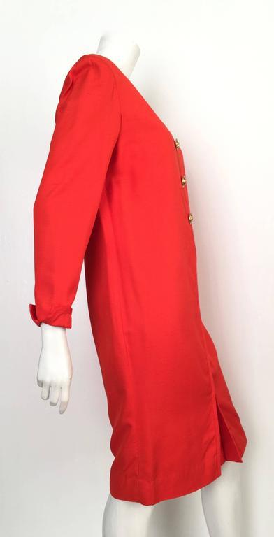 Carolina Herrera 1980s Silk Dress Size 10. In Excellent Condition For Sale In Atlanta, GA