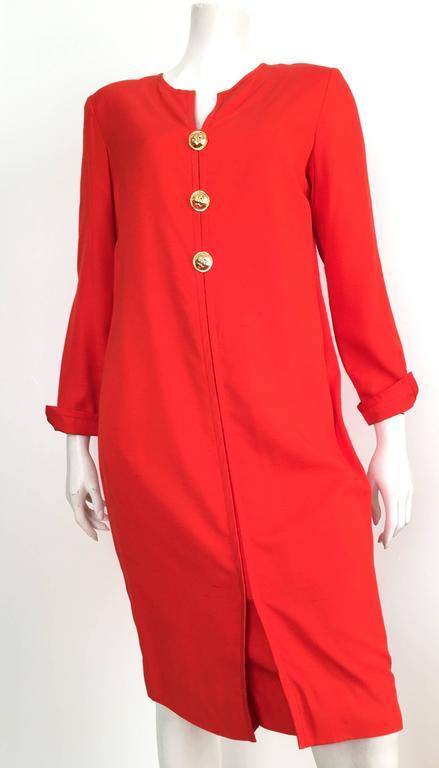 Carolina Herrera 1980s Silk Dress Size 10. For Sale 3