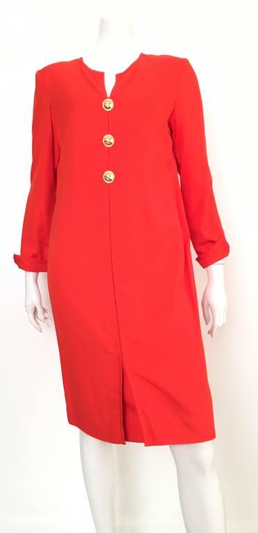 Carolina Herrera 1980s Silk Dress Size 10. For Sale 5