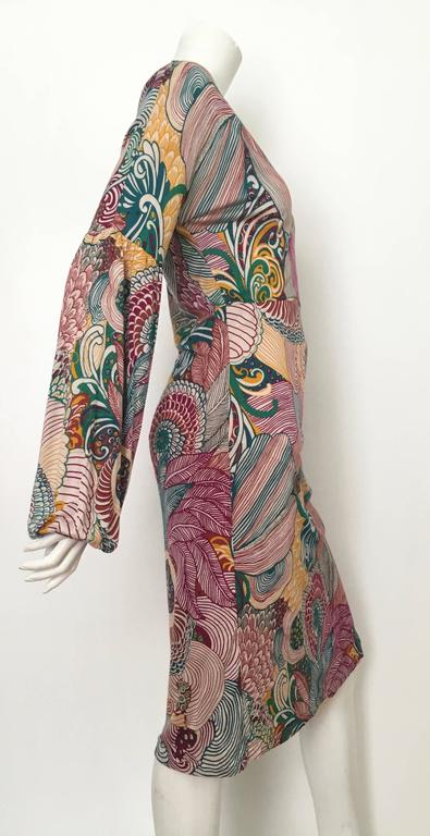 Missoni Silk Jersey Long Sleeve Dress Size 6.  In Excellent Condition For Sale In Atlanta, GA