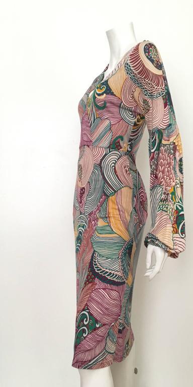 Missoni Silk Jersey Long Sleeve Dress Size 6.  For Sale 2