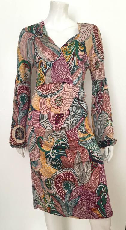 Missoni Silk Jersey Long Sleeve Dress Size 6.  For Sale 5