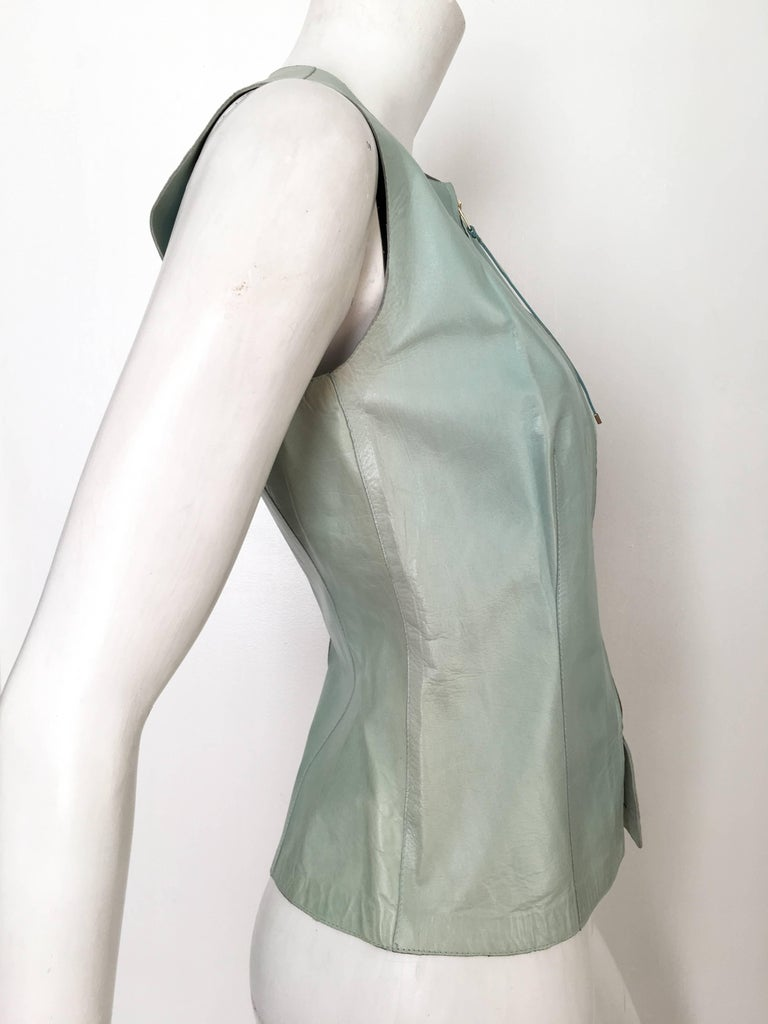 Gucci by Tom Ford Leather Aqua Vest Size 4 / 40.  3