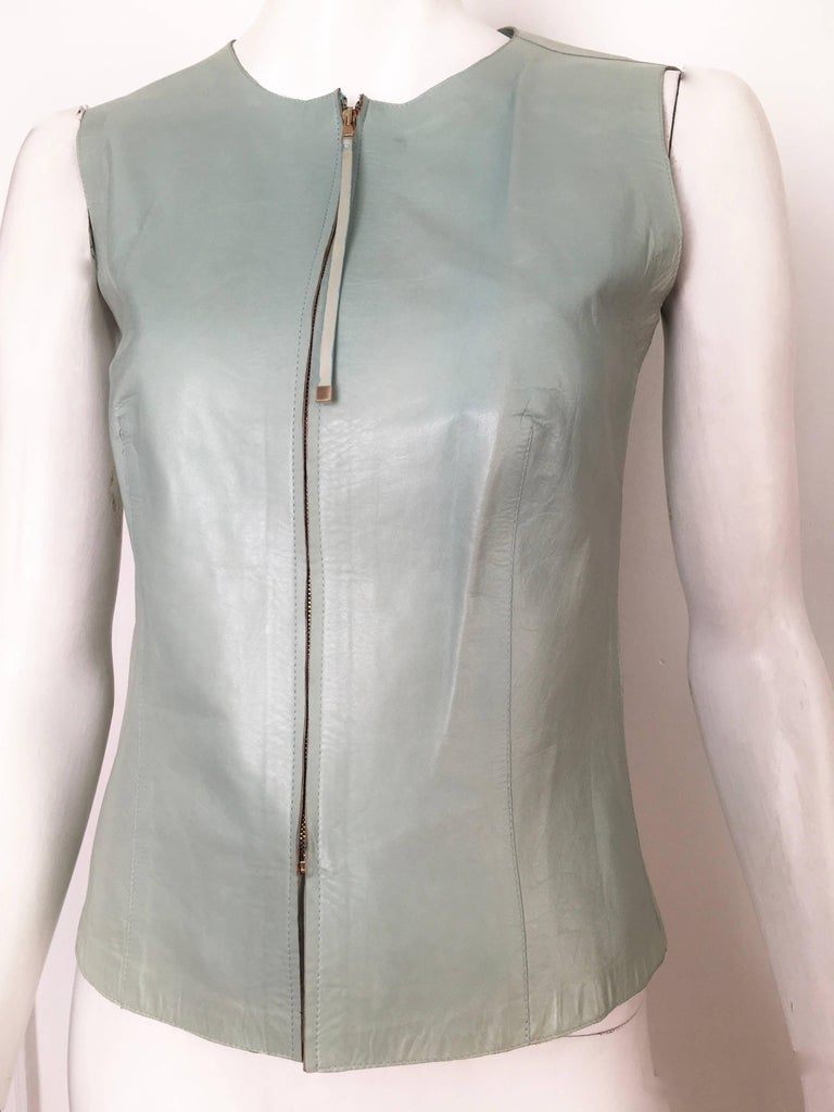 Gucci by Tom Ford Leather Aqua Vest Size 4 / 40.  2
