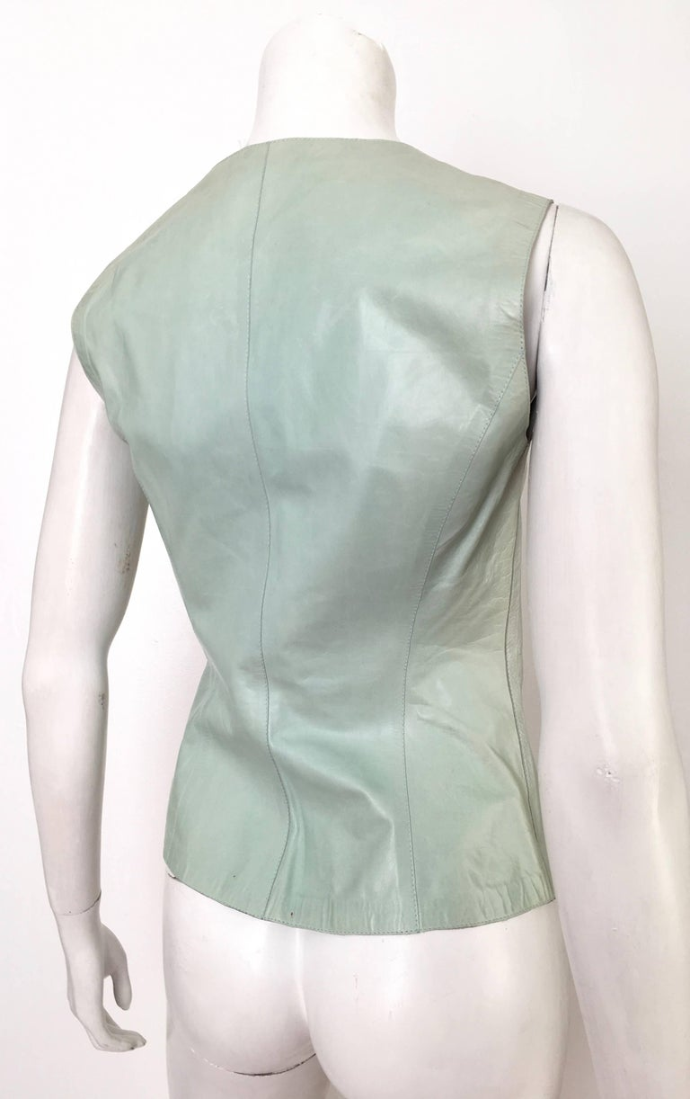 Gucci by Tom Ford Leather Aqua Vest Size 4 / 40.  4