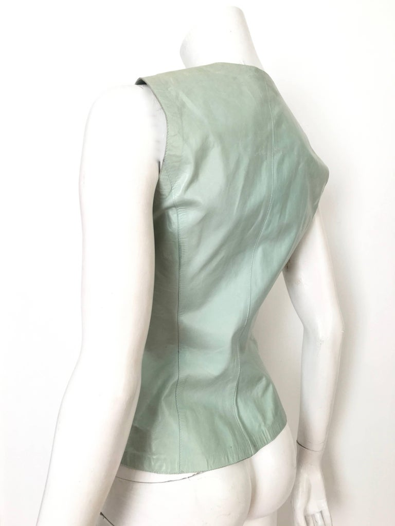 Gucci by Tom Ford Leather Aqua Vest Size 4 / 40.  5