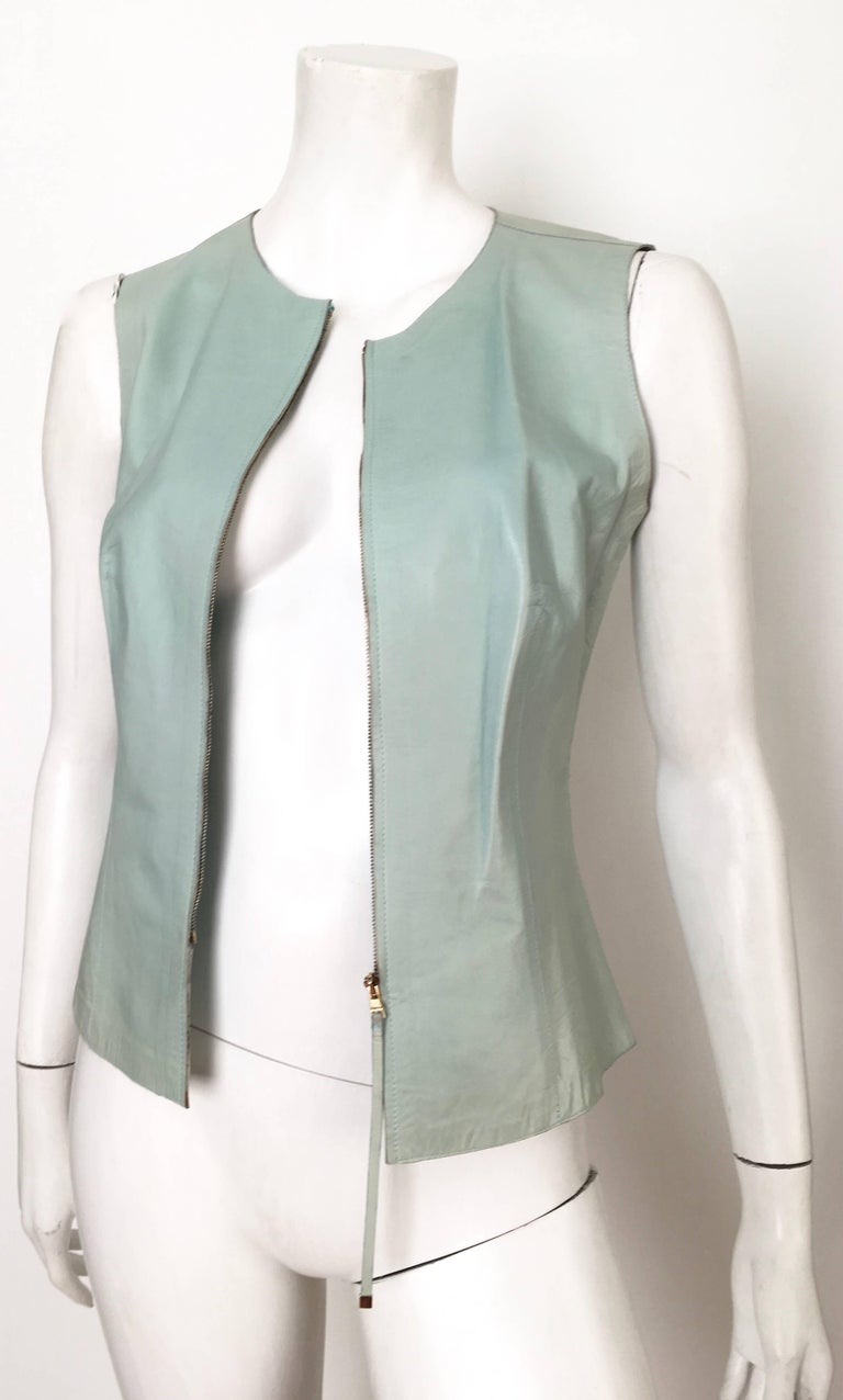 Gucci by Tom Ford Leather Aqua Vest Size 4 / 40.  7