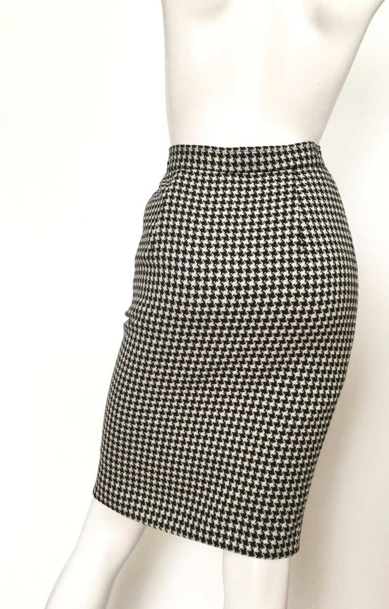emanuel ungaro 1980s houndstooth pencil skirt size 4 for