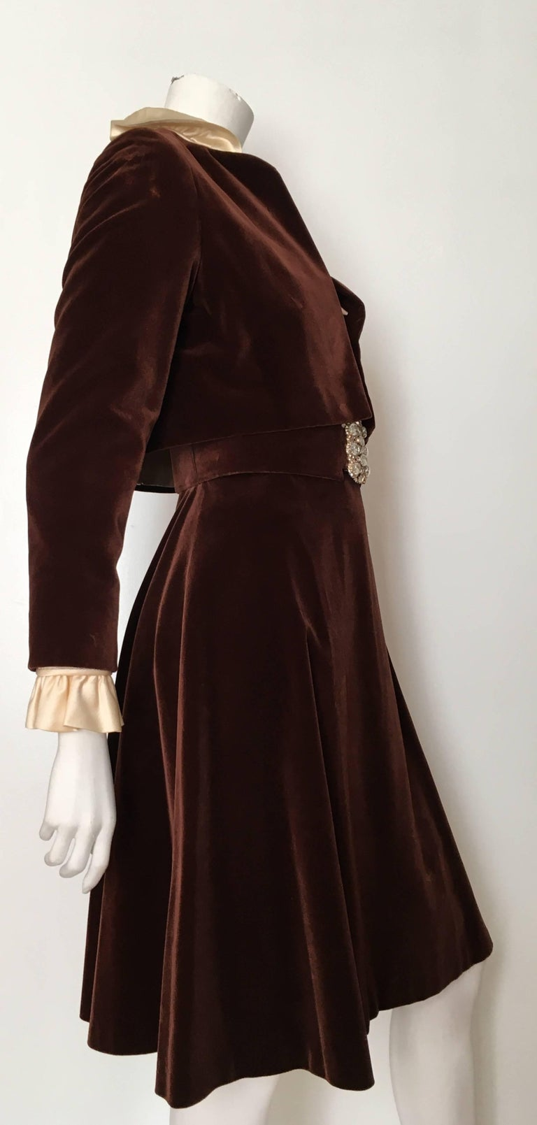 Teal Traina 1960s Brown Velvet Dress With Cropped Jacket