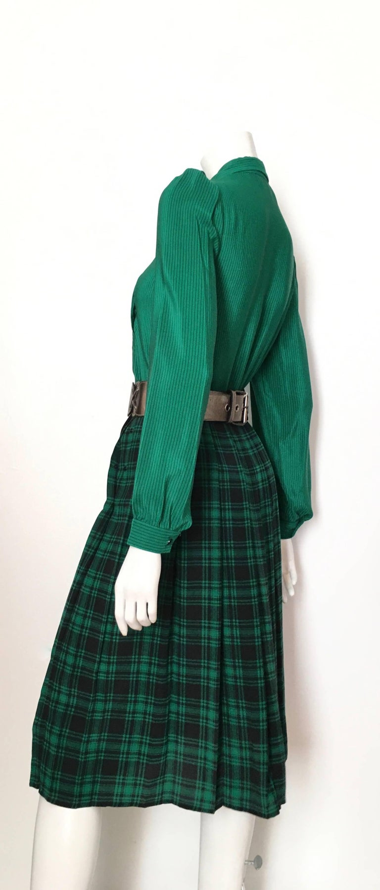 Women's or Men's Oscar de la Renta 1980s Silk Striped Blouse & Plaid Pleated Skirt Size 4. For Sale