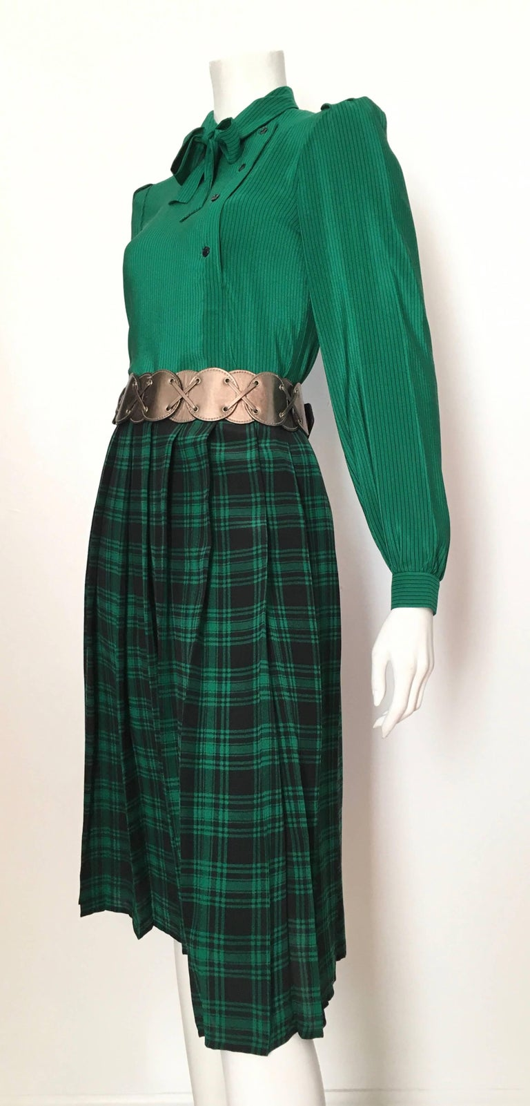 Oscar de la Renta 1980s Silk Striped Blouse & Plaid Pleated Skirt Size 4. For Sale 1