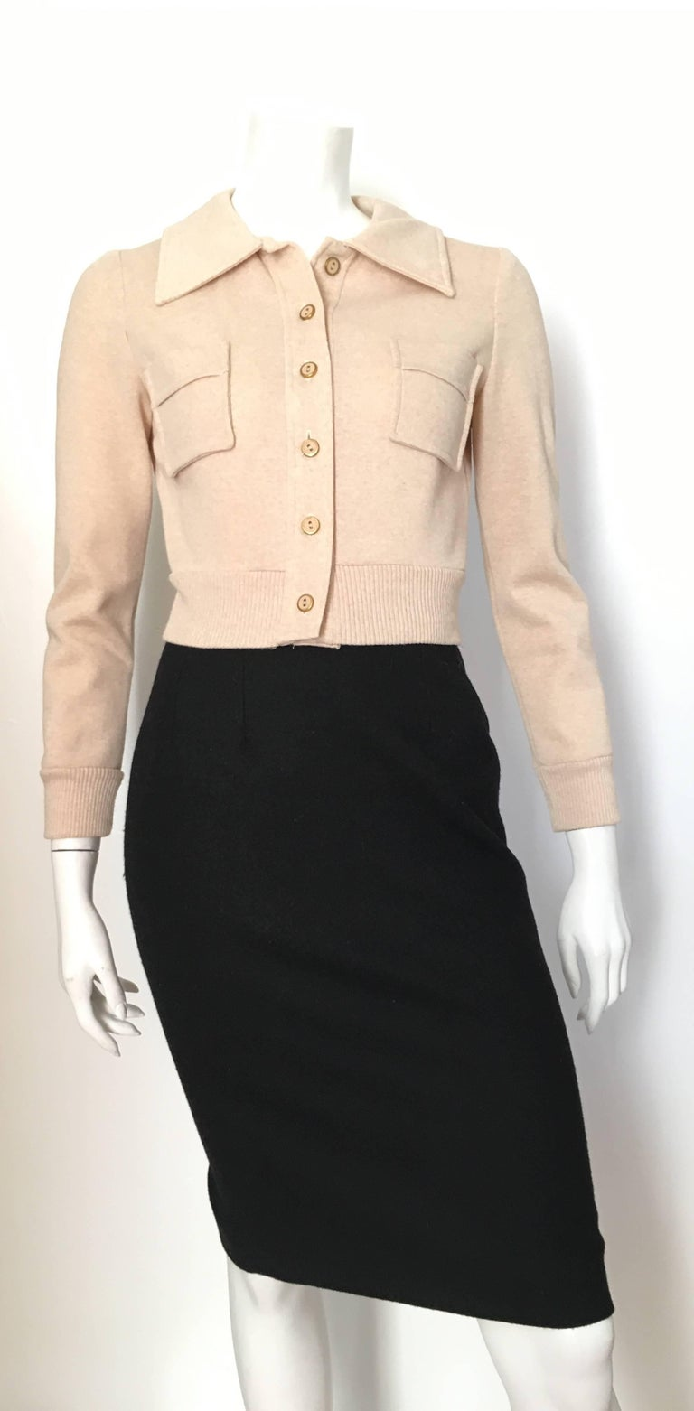 Neiman Marcus Tan Cropped Knit Jacket, 1960s at 1stdibs