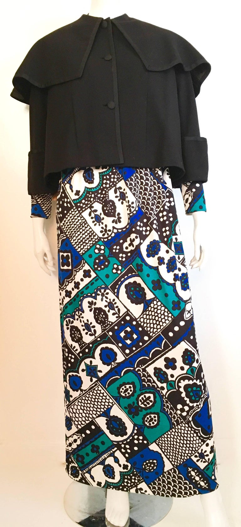 Young Dimension for Saks Fifth Avenue 1980s MOD Maxi whimsical dress is a size 4.  Ladies please grab your tape measure so you can measure your bust, waist & hips to make certain this treasure will fit your lovely body. Fabulous to wear while