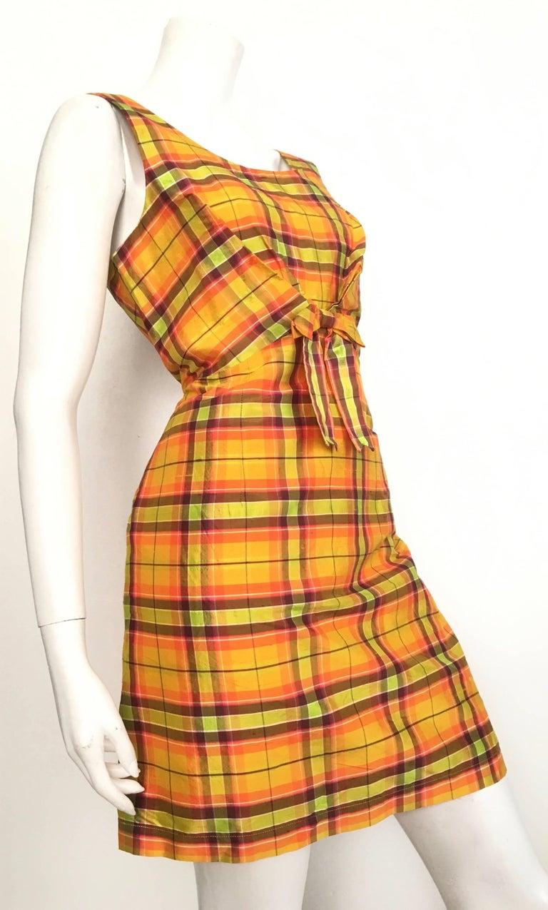 Orange Moschino Silk Plaid Sleeveless Dress Size 10. For Sale