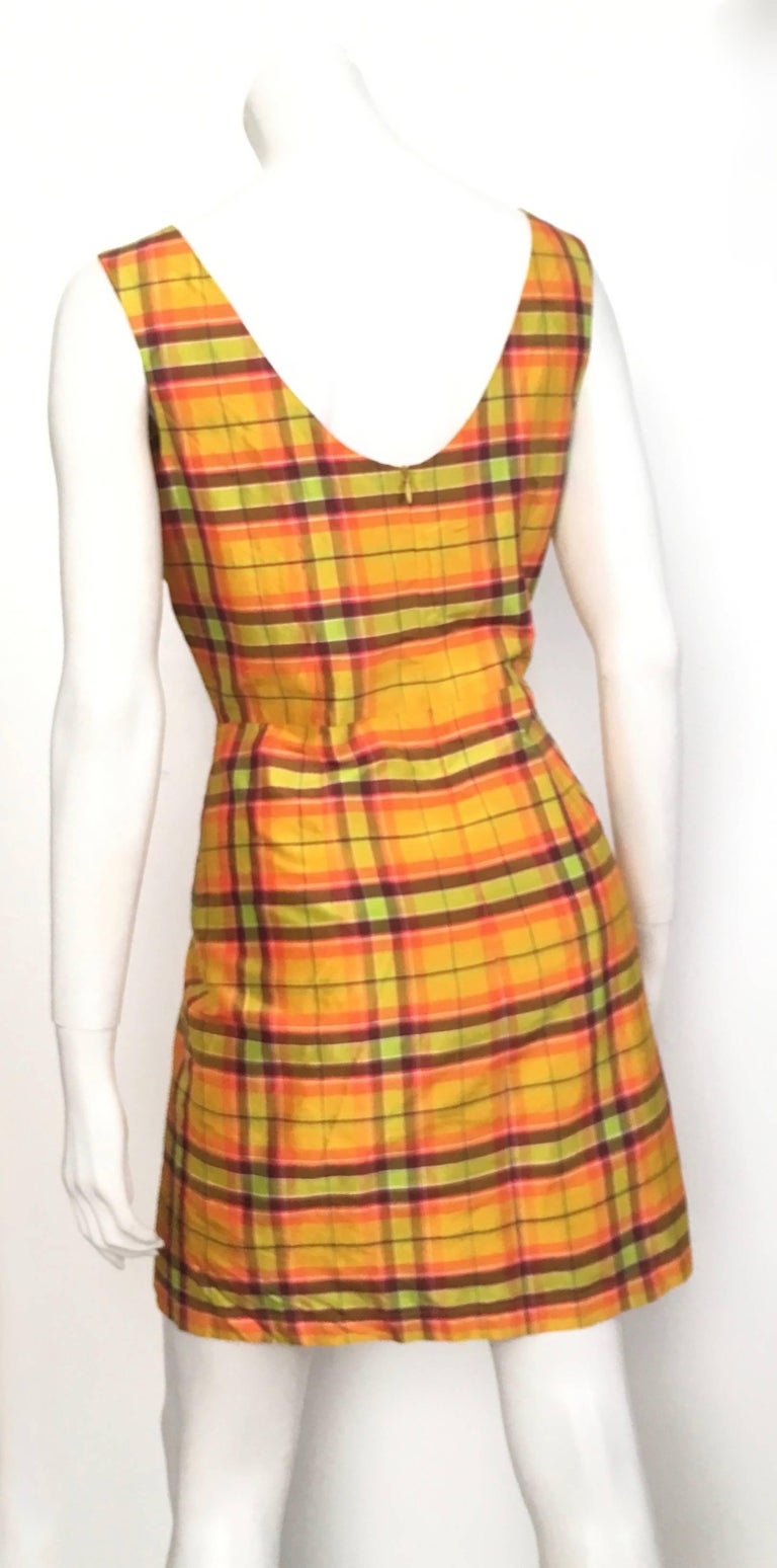 Women's or Men's Moschino Silk Plaid Sleeveless Dress Size 10. For Sale