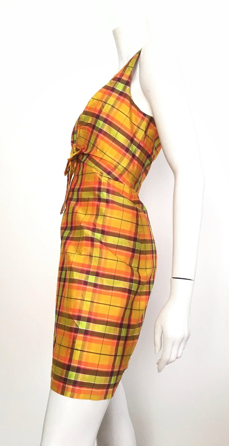 Moschino Silk Plaid Sleeveless Dress Size 10. For Sale 1