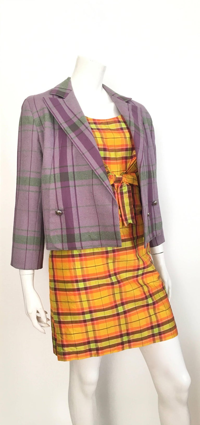 Moschino Silk Plaid Sleeveless Dress Size 10. For Sale 3