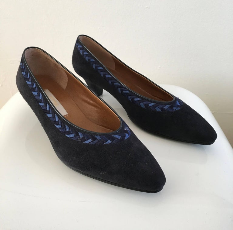 f5ba743d6b056d Nina Ricci Navy Suede Low Heel Slip On Shoes For Sale at 1stdibs