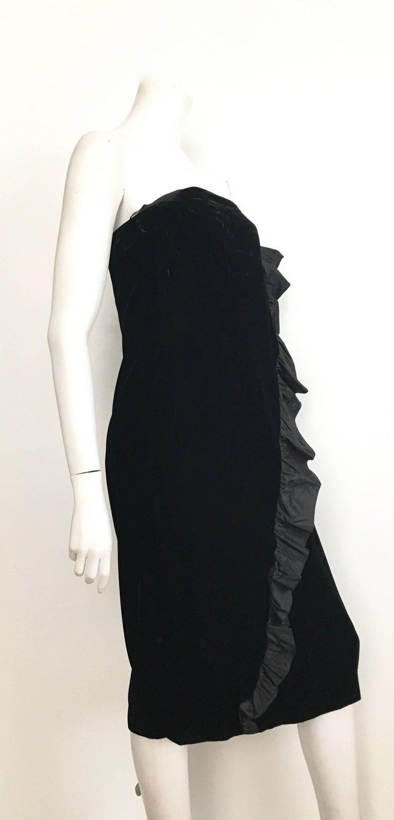 Bill Blass Black Velvet Strapless Evening Cocktail Dress Size 8. For ...