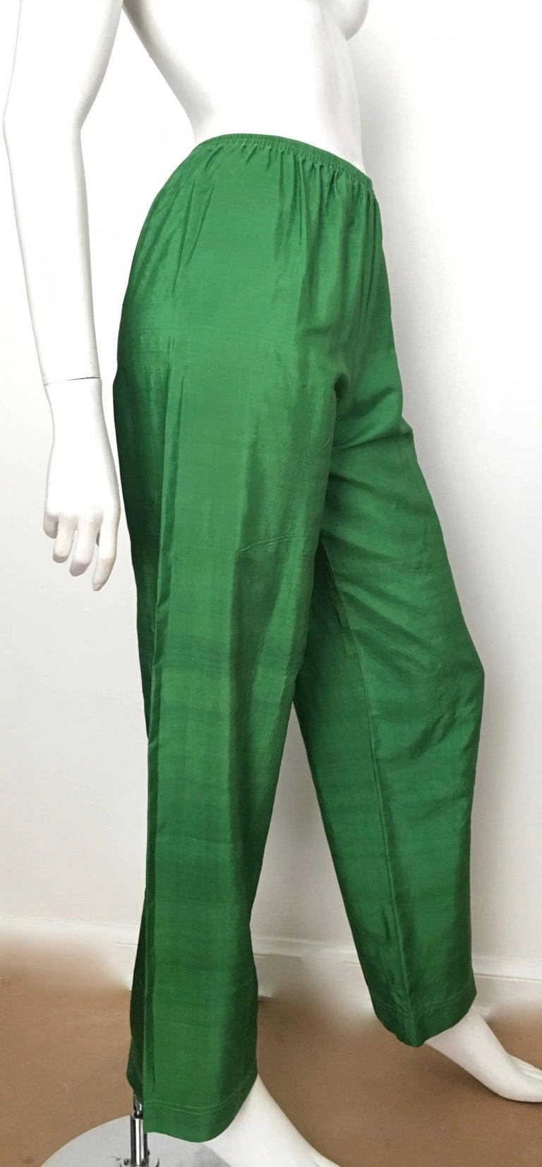 979b742b3018 Women s or Men s Saint Laurent Rive Gauche 1970s Green Silk Pants Size 4.  For Sale