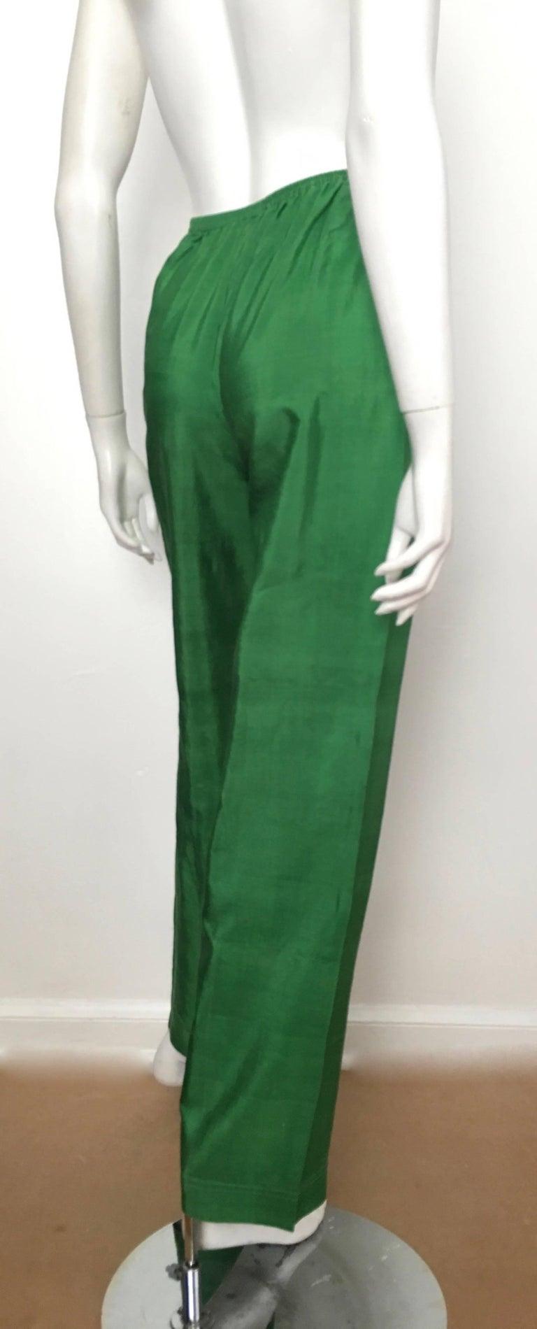 df9452290e91 Saint Laurent Rive Gauche 1970s Green Silk Pants Size 4. at 1stdibs
