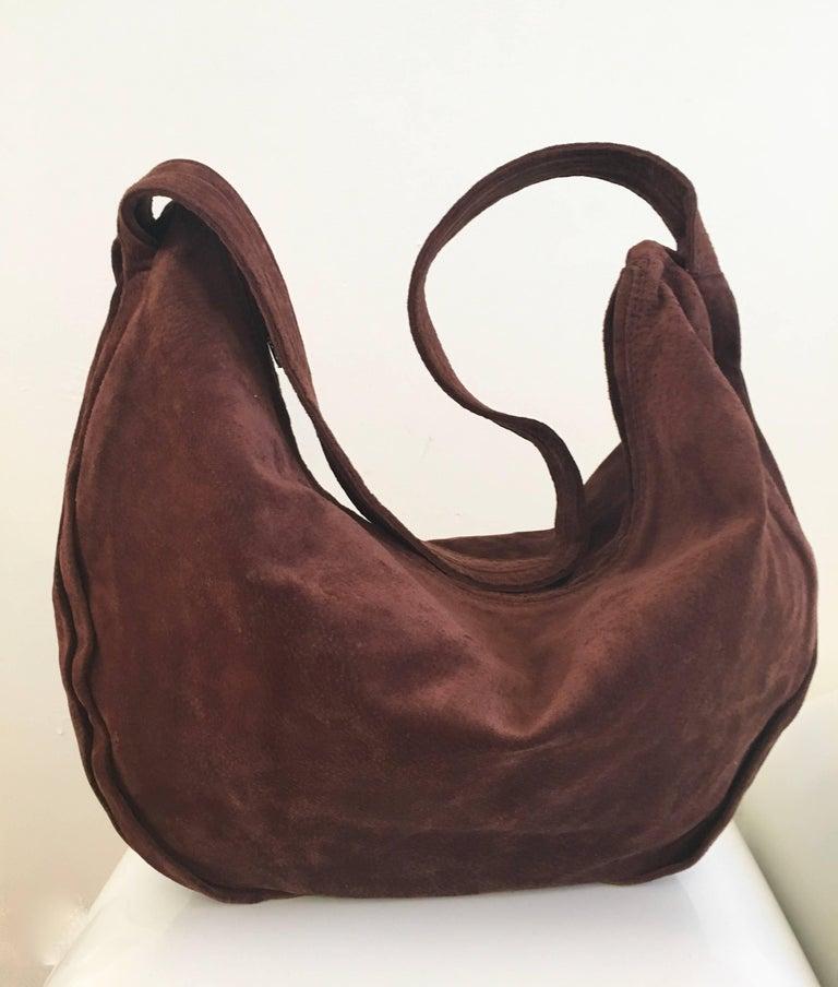 Donna Karan Brown Suede Hobo Handbag Made In Italy Never