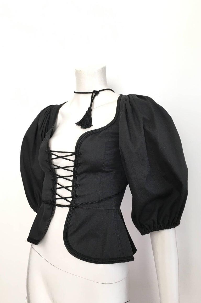 Black Saint Laurent Rive Gauche Russian Collection Corset Lace Top Size 0 / 2, 1976  For Sale