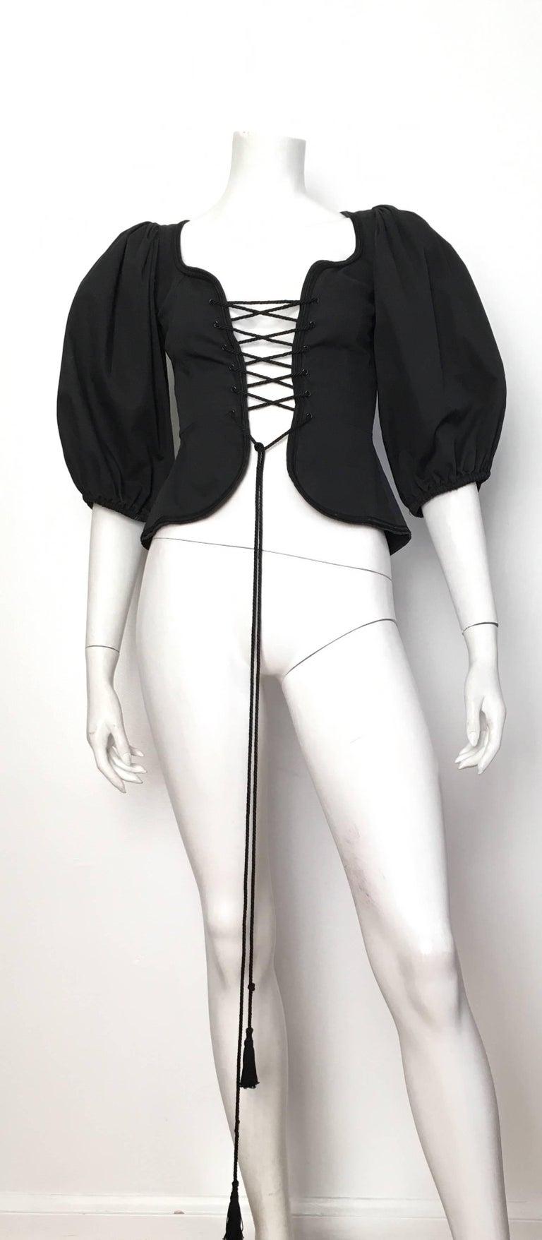 Women's or Men's Saint Laurent Rive Gauche Russian Collection Corset Lace Top Size 0 / 2, 1976  For Sale