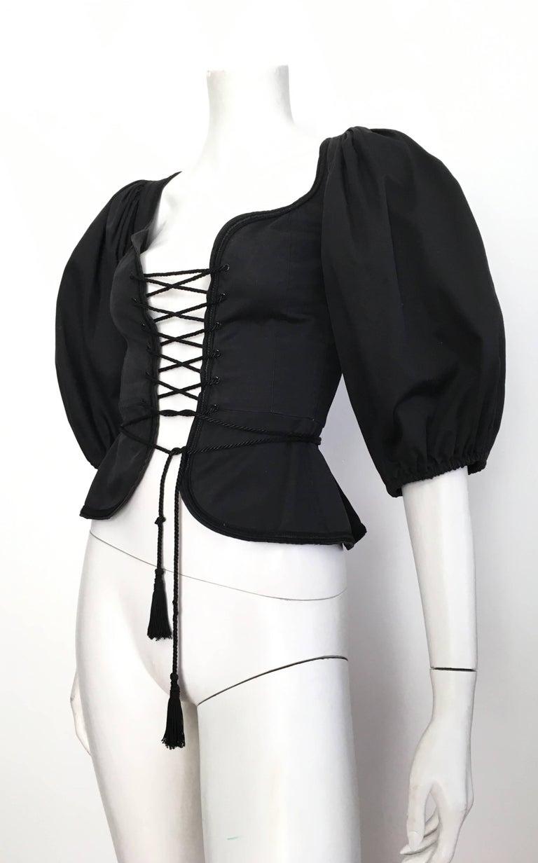 Saint Laurent Rive Gauche Russian Collection Corset Lace Top Size 0 / 2, 1976  For Sale 5