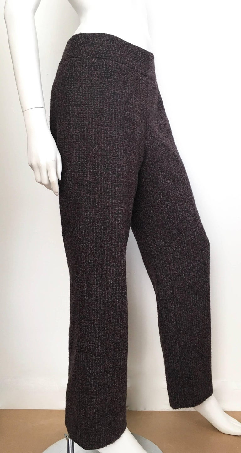 Oscar De La Renta Nubby Flannel Wool Pants Size 6 Made In