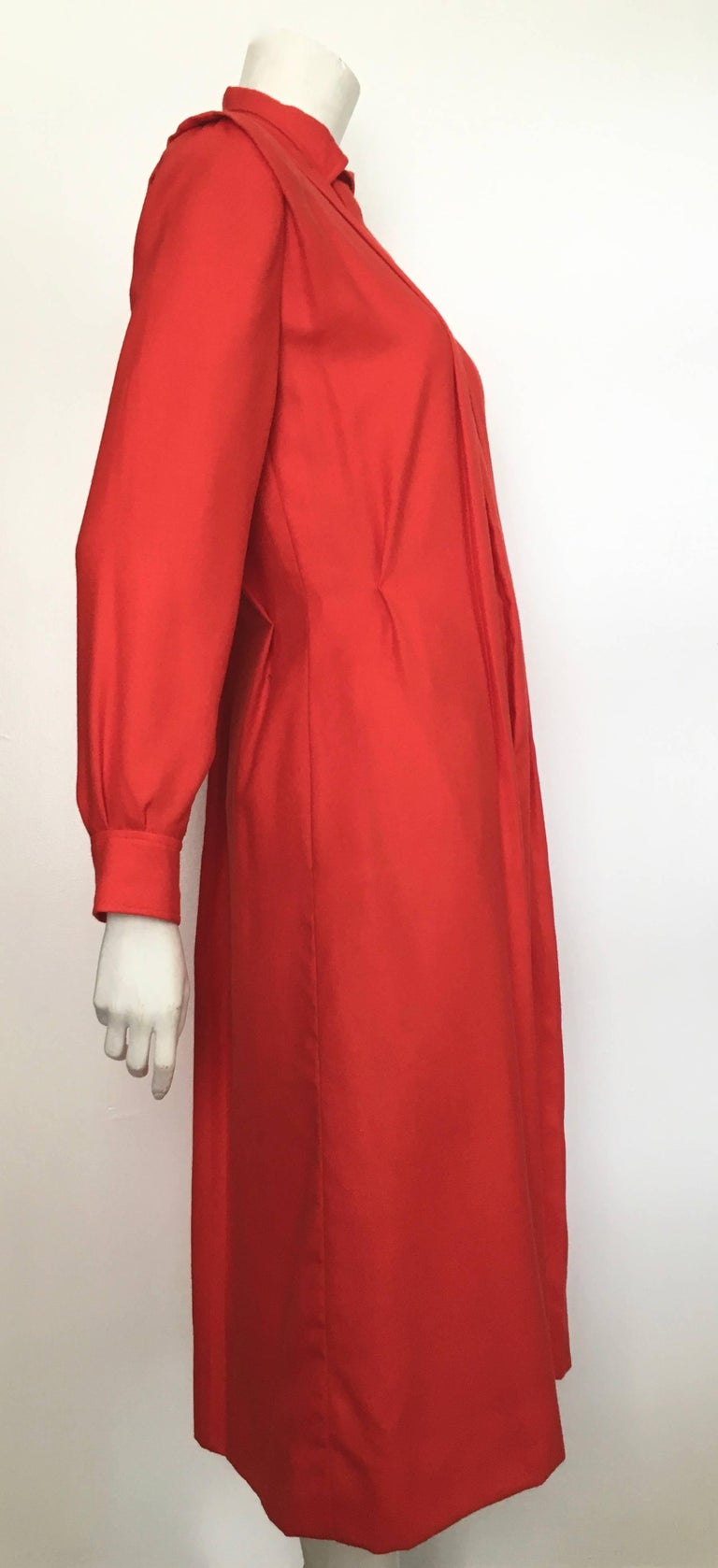 Courreges Red Wool Long Sleeve Dress with Pockets, 1980s  In Excellent Condition For Sale In Atlanta, GA