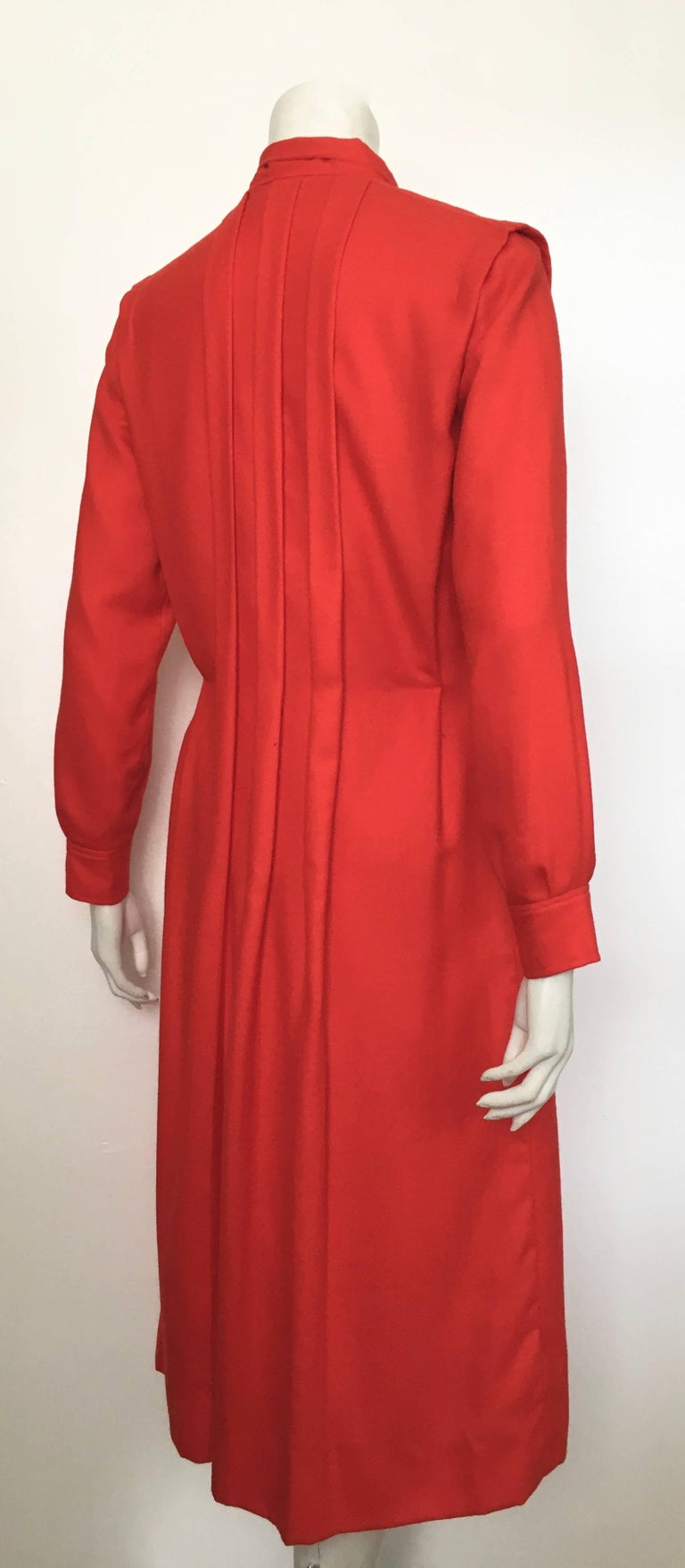 Courreges Red Wool Long Sleeve Dress with Pockets, 1980s  For Sale 1