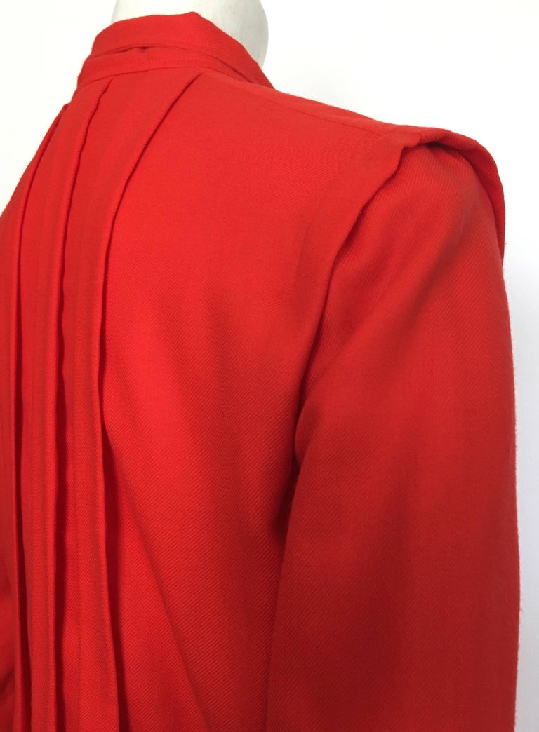 Courreges Red Wool Long Sleeve Dress with Pockets, 1980s  For Sale 2