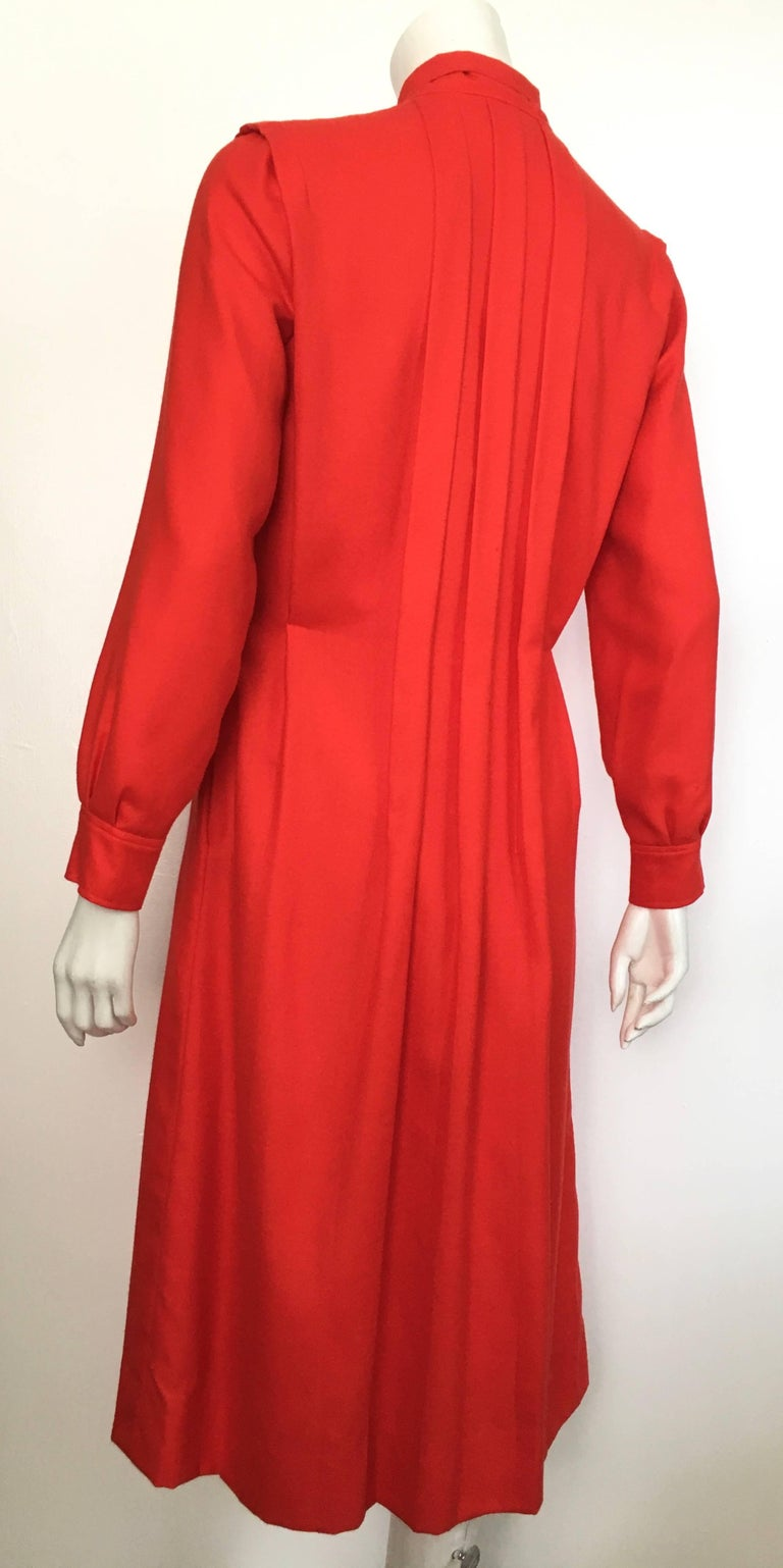 Courreges Red Wool Long Sleeve Dress with Pockets, 1980s  For Sale 3