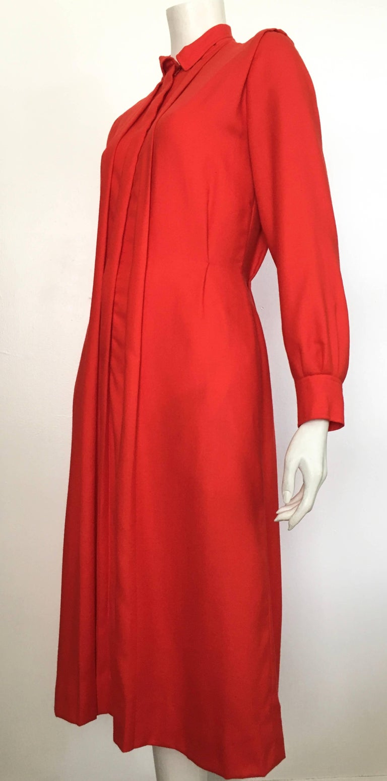 Courreges Red Wool Long Sleeve Dress with Pockets, 1980s  For Sale 4