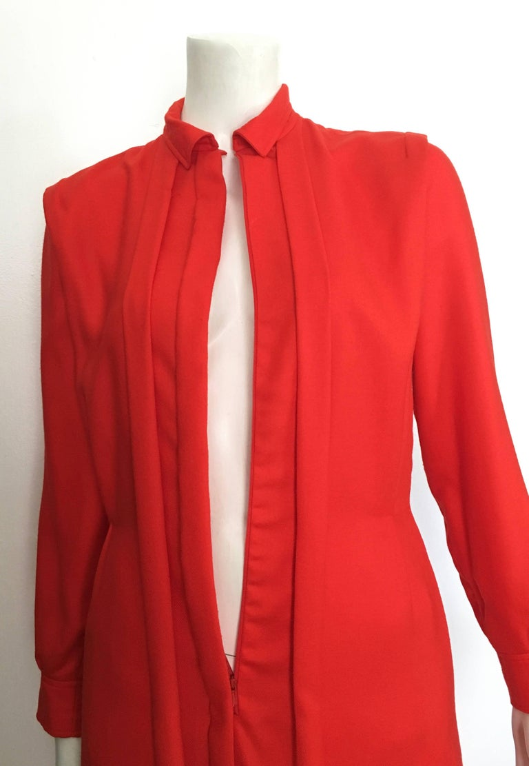 Courreges Red Wool Long Sleeve Dress with Pockets, 1980s  For Sale 5
