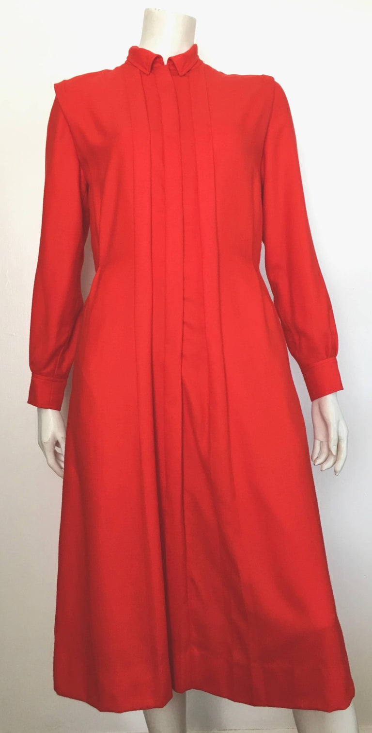 Courreges Red Wool Long Sleeve Dress with Pockets, 1980s  For Sale 6